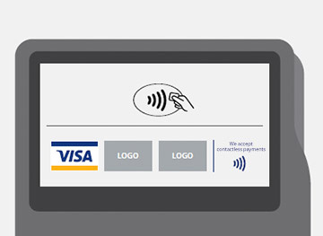 Contactless Symbol with network marks and contactless acceptance messaging.