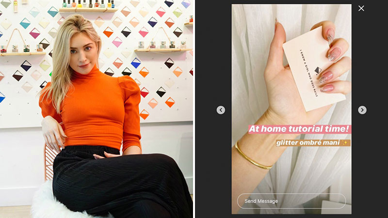 Kristin Pulaski (L), owner of Paint Bucket Nails, a modern nail salon in Brooklyn, New York, hosts DIY nail tutorials on the company's social channels (right frame).