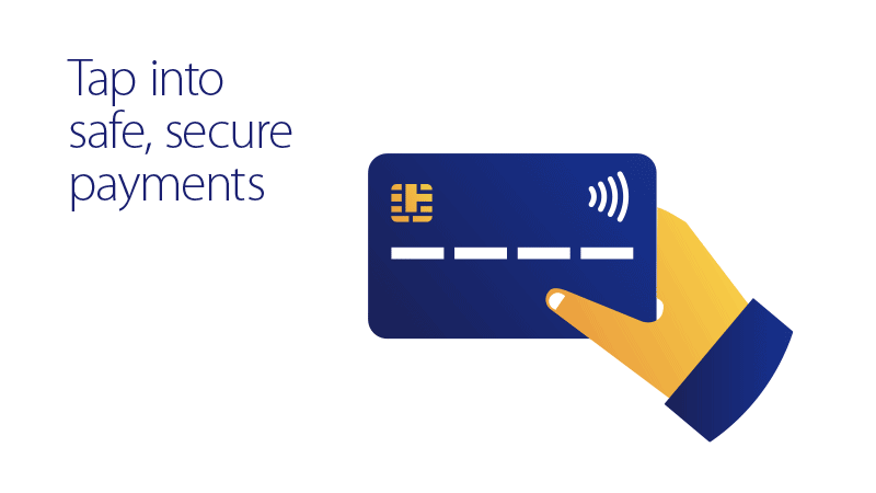 Image shows hand and card and invites to tap into safe secure payments
