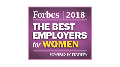Forbes 2018 award, the best employers for women logo.