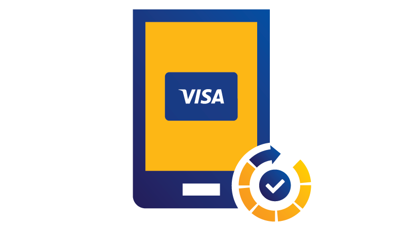 Illustration: tablet displaying Visa logo with checkmark at bottom.