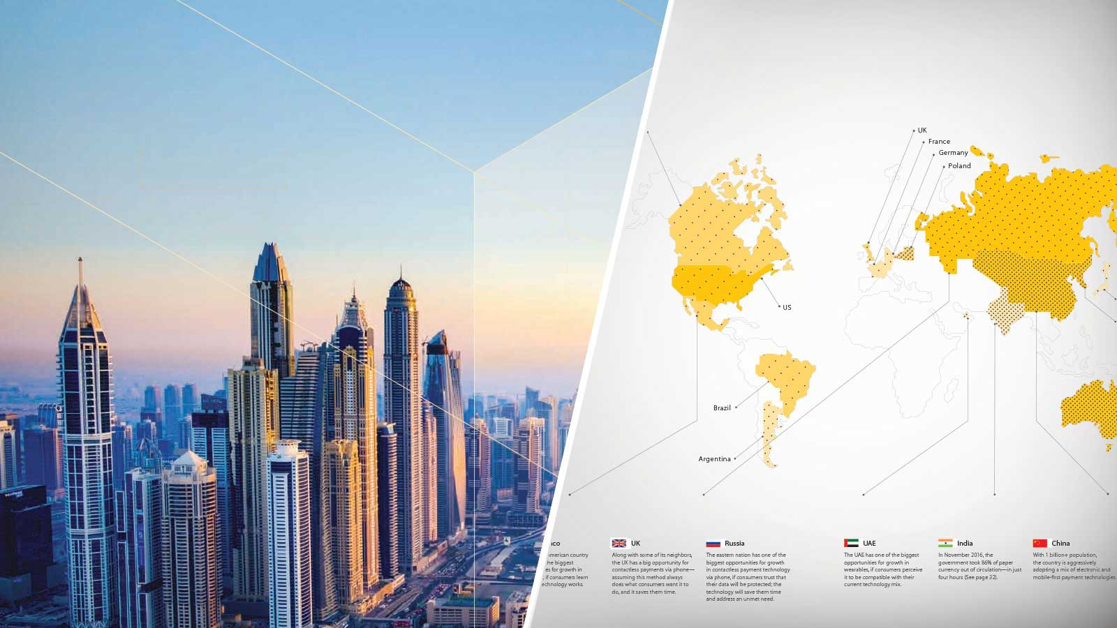 Composite: cityscape and partial world map identifying US, Brazil, Argentina, UK, France, Germany and Poland.