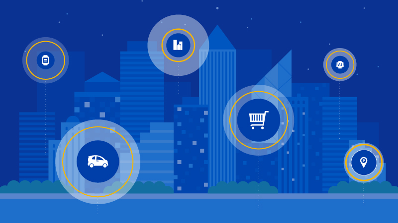 Visa illustration of connected devices city