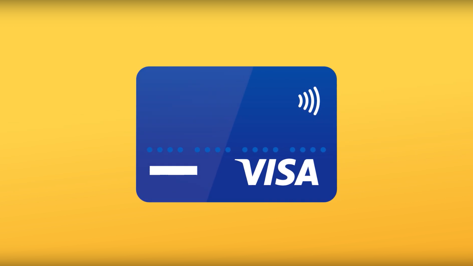 Blue Visa card against a yellow background.